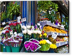 Corner Flower Stand Acrylic Print by Larry Goss