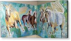 Corner Horses Acrylic Print by Vicky Tarcau