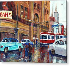 Corner St.catherine And Union Streets-fifties Montreal-vintage Street Scene Acrylic Print by Carole Spandau