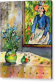 Cornflowers In French Pottery And Van Gogh Painting On Wall Acrylic Print by Ginette Callaway
