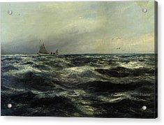 Cornish Sea And Working Boat Acrylic Print by Charles William Hemy