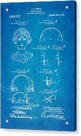 Cornish Wrinkle Remover Patent Art 1917 Blueprint Acrylic Print by Ian Monk