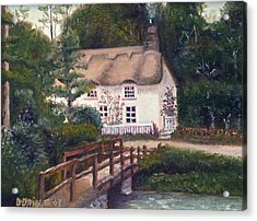Cornwall Cottage Acrylic Print by Diane Daigle