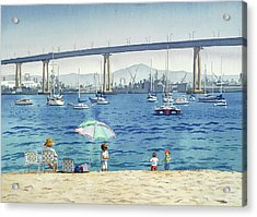 Coronado Beach And Navy Ships Acrylic Print