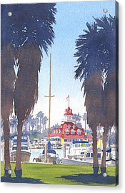 Coronado Boathouse And Palms Acrylic Print by Mary Helmreich