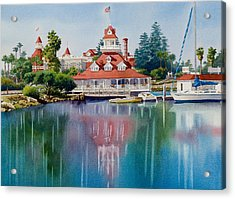 Coronado Boathouse Reflected Acrylic Print by Mary Helmreich