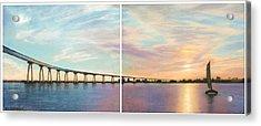 Coronado Bridge Sunset Diptych Acrylic Print