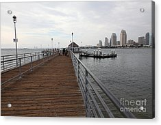 Coronado Pier Overlooking The San Diego Skyline 5d24353 Acrylic Print by Wingsdomain Art and Photography