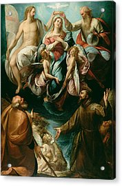 Coronation Of The Virgin With Saints Joseph And Francis Of Assisi Acrylic Print