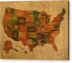 Corporate America Map Acrylic Print by Design Turnpike