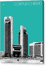 Corpus Christi Skyline - Teal Acrylic Print by DB Artist