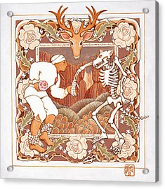 Corrido Del Venado Y Coyote En La Frontera Acrylic Print by Ruth Hooper