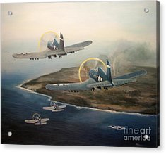 Corsairs Over Iwo Acrylic Print by Stephen Roberson