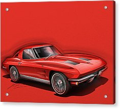 Corvette Sting Ray 1963 Red Acrylic Print by Etienne Carignan