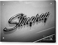 Corvette Stingray Emblem Black And White Picture Acrylic Print by Paul Velgos