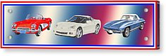 Corvettes In Red White And True Blue Acrylic Print by Jack Pumphrey