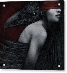 Acrylic Print featuring the painting Corvidae by Pat Erickson