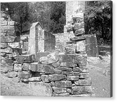 Cosley Mill Ruins In Black And White Acrylic Print