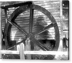 Cosley Mill Waterwheel In Black And White Acrylic Print