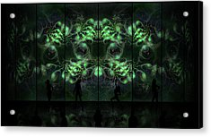 Acrylic Print featuring the digital art Cosmic Alien Vixens Green by Shawn Dall