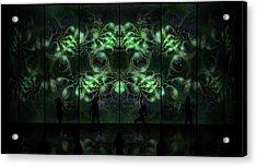 Cosmic Alien Vixens Green Acrylic Print by Shawn Dall