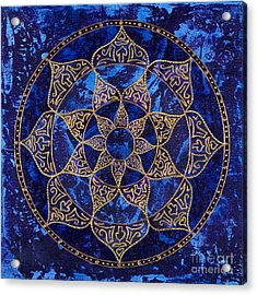 Cosmic Blue Lotus Acrylic Print by Charlotte Backman