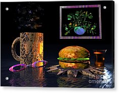 Acrylic Print featuring the digital art Cosmic Burger by Jacqueline Lloyd