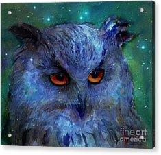 Cosmic Owl Painting Acrylic Print by Svetlana Novikova