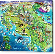 Costa Rica Map Illustration Acrylic Print by Maria Rabinky