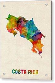 Costa Rica Watercolor Map Acrylic Print