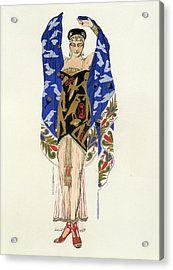 Costume Design For A Dancing Girl Acrylic Print by Leon Bakst