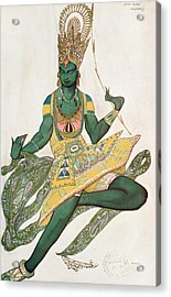 Costume Design For Nijinsky 1889-1950 For His Role As The Blue God, 1911 Wc On Paper Acrylic Print by Leon Bakst