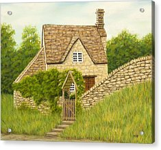 Cotswold Cottage Acrylic Print by Rebecca Prough