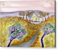 Cottage By The Purple Trees Acrylic Print
