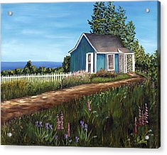 Cottage By The Sea Acrylic Print by Helen Eaton