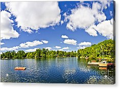 Cottage Lake With Diving Platform And Dock Acrylic Print by Elena Elisseeva