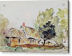 Cottage Under Large Trees In Summer Acrylic Print by Ferdinand Victor Eugene Delacroix
