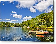 Cottages On Lake With Docks Acrylic Print by Elena Elisseeva