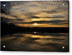 Cotton Ball Clouds Sunset Acrylic Print