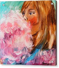 Acrylic Print featuring the painting Cotton Candy by Karen  Ferrand Carroll