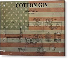 Cotton Gin Patent Aged American Flag Acrylic Print