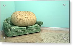 Couch Potato On Old Sofa Acrylic Print