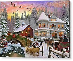 Acrylic Print featuring the drawing Counrty Christmas by David M ( Maclean )