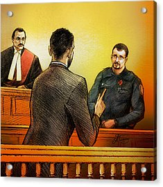 Counsel Harval Bassi Questions A Witness Acrylic Print by Alex Tavshunsky