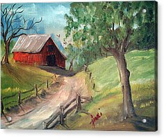 Country Barn Acrylic Print by Judi Pence