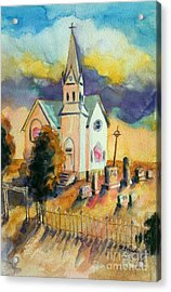 Acrylic Print featuring the painting Country Church At Sunset by Kathy Braud