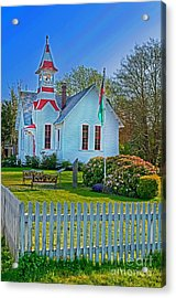 Country Church In Oysterville Wa Acrylic Print by Valerie Garner