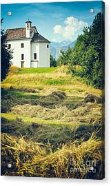 Acrylic Print featuring the photograph Country Church With Hay by Silvia Ganora
