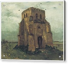 Country Churchyard And Old Church Tower Acrylic Print by Vincent Van Gogh