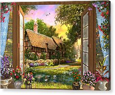 Acrylic Print featuring the drawing Country Cottage View by Dominic Davison
